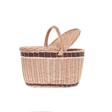 Shabby chic wicker picnic basket with