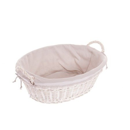 Whitewash wicker laundry bin