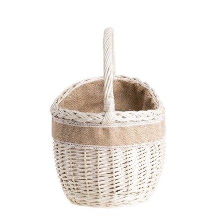 Kleiner Einkaufskorb aus Weide, weißer retro