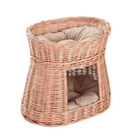 Ovale Katzenhütte in Naturfarbe / Katzenkorb aus Weide / Katzenturm