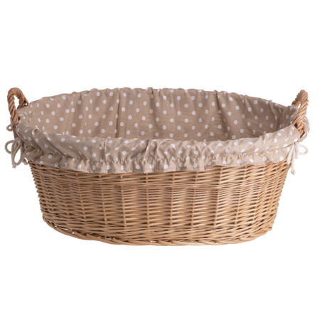 Ovaler, naturfarbiger Wäschekorb aus Weide mit dem Besatz