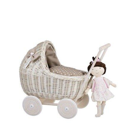 Puppenwagen aus Weide in Beige