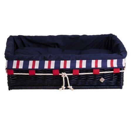 Rechteckiger Hundekorb aus Weide, marineblau