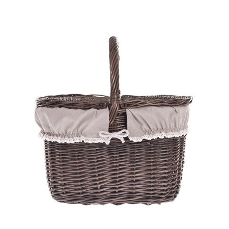 Wiklinowy kosz piknikowy - szarzony