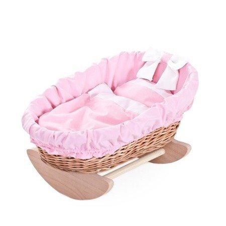 Wózek Kołyska Łóżeczko wiklinowe dla lalek - różowe