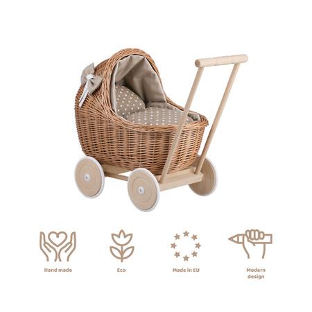 Wózek wiklinowy dla lalek z beżowymobszyciem