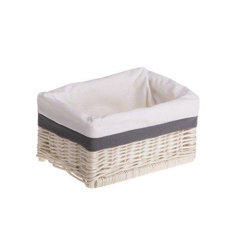 Zestaw koszy wybielanych z białą tkaniną i szarym dodatkiem